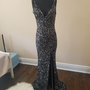 Mac Duggal Coutour dress black and silver